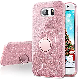 Galaxy S6 Case,Silverback Girls Bling Glitter Sparkle Cute Phone Case with 360 Rotating Ring Stand, Soft TPU Outer Cover + Hard PC Inner Shell Skin for Samsung Galaxy S6 -Rose Gold