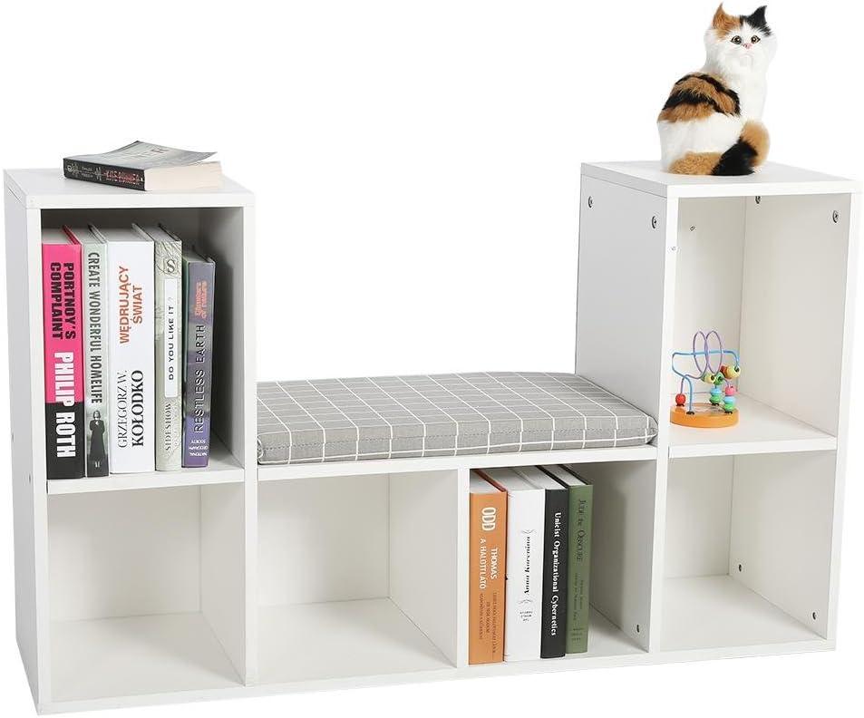 GOTOTOP Libreria Scaffale Mobile per Archiviazione con Mensola in Legno,Libreria da Parete Scaffale ad Angolo CD//Dvd,Mensole a Cubo da Parete,101 60.5 30cm Bianco
