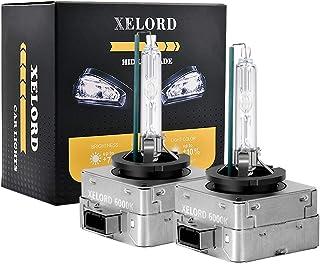 XELORD D3S Xenon Lampadine 6000K Bianco Fari Per Auto 12V 35W Lampadina Per Fari,HID Allo Xeno(Confezione Da 2)