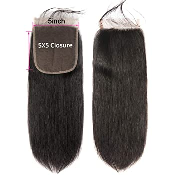 CYNOSURE Hair 5x5 Lace Closure Straight Human Hair Closure Free Part with Baby Hair Natural Black Color 5x5-10Inch