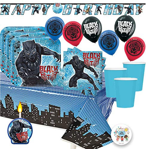 Another Dreams Black Panther MEGA Birthday Party Pack for 16 Guests Includes Plates, Cups, Napkins, Tablecover, Happy Birthday Banner, 6 Balloons, Party Pin and Birthday Candle