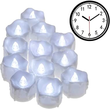 Timer Candles, PChero 12pcs Battery Operated LED Flameless Tea Light Flickering Candles, Ideal for Birthday Wedding Party Hom