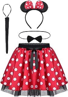 TiaoBug Mädchen Kostüm Set Mini Polka Dots Rock  Fliege  Haarreifen mit Maus Ohren Schleife  Schwanz Karneval Weihnachten Party Outfit