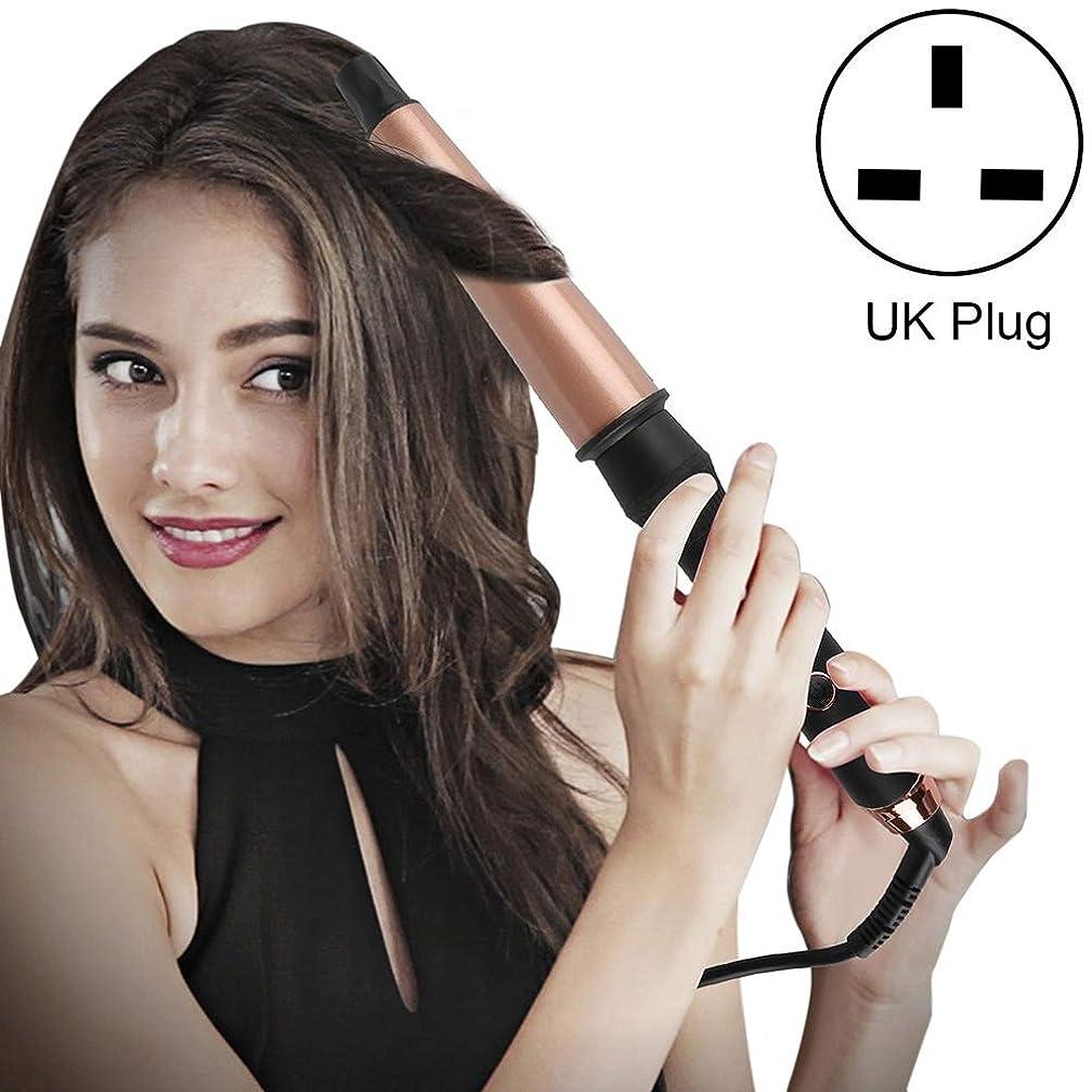 知り合いになる地震円形WTYD 美容ヘアツール 耐熱手袋付イギリスのプラグと1-1.5インチコニカルセラミックヘアカーラー (色 : Rose Gold)