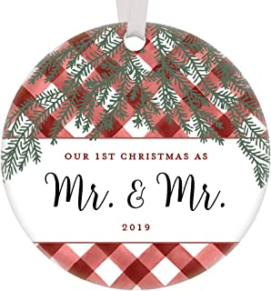 Our 1st Christmas Mr & Mr Ornament 2019 Gay Couple Keepsake First Holiday Together Just Married Newlyweds Same Sex Life Partner Gift Ideas Buffalo Plaid Gingham Farmhouse Decor 3