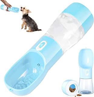 TAME Portable Dog Water Bottle for Walking and Traveling Pet Water Bottle 3 in 1 Water and Food Container for Dogs Cats Dr...