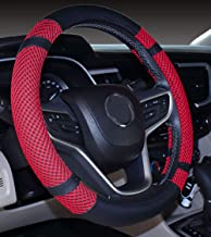 Steering Wheel Cover Microfiber Leather and Viscose, Breathable, Anti-Slip, Odorless, Warm in Winter and Cool in Summer, Universal (14''-14.25'', Red)