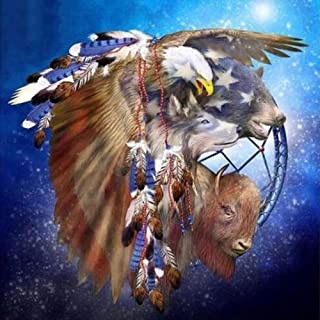 Diamond Painting Art for Adults Colorful Rainstone Dots Beads Kits Eagle Wolf Bear Buffalo 11.8 × 11.8in 1 Pack by Light S Direct