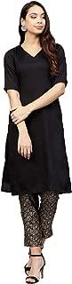 AHALYAA Women's Poly silk Straight Kurta Sets (Black)