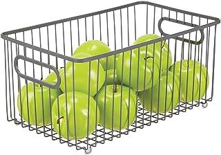 mDesign panier de rangement extra-large en fil de fer – boîte en métal flexible pour la cuisine, le garde-manger, etc. – p...