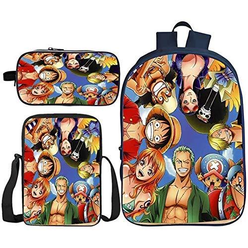 HOOBBI Schultasche Set 3D Anime Prints Primärkinder Rucksack wasserdichte Leichte Rucksack Bücher Tasche mit Stiftkiste Lunchtasche, Schulgeschenk für Kind (Color : One Piece11)