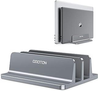OMOTON [Aktualisierte Version] Vertikaler Doppelständer für Laptops, Dualer Desktop Laptop Ständerhalter mit verstellbarem Dock (für Laptops bis zu 17,3 Zoll) für alle MacBook Air/Pro (grau)