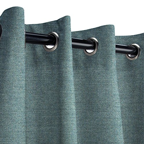 Sunbrella Cast Lagoon Outdoor Curtain with Nickel Grommets 50 in. Wide x 108 in. Long