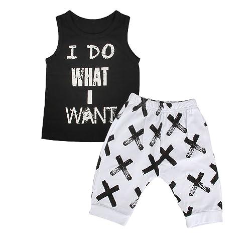 Pants Clothes Boys Outfits Sets 2PCS Toddler Kids Baby Boy  Sleeveless T-Shirt