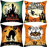 CICADAS 4 Pcs Halloween Reihe Leinen Kissenbezüge,Glatte Pillowcase mit Unsichtbaren...