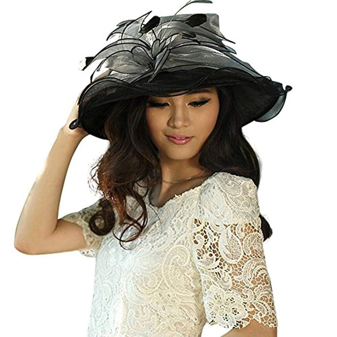 予測定数飢え6月のYoungレディース帽子ブラック帽子ビーチ帽子UV保護forケンタッキーダービー