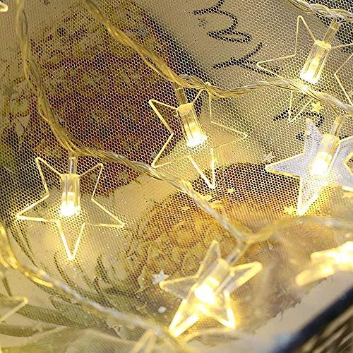 Cadena de luces LED USB/estrellas a prueba de agua cuento de hadas cadena de luz interior dormitorio balcón exterior jardín decoración de hadas luz de Navidad luz 10m 80 luces (tipo de batería)