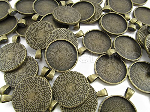 20 CleverDelights Round Pendant Trays - Antique Bronze Color - 25mm 1' Diameter - Pendant Blanks Cameo Bezel Cabochon Settings - 25 mm 1 Inch
