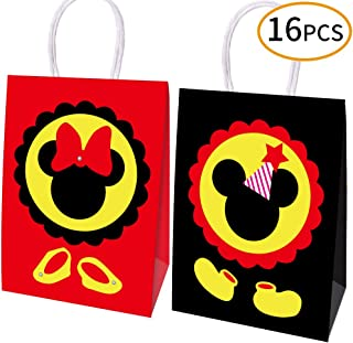 HYOUNINGF 16 Pcs Mickey Mouse Favor Bags, Mickey Minnie Treat Candy Goodie Gift Bags for Baby Birthday Party Supplies Baby Shower Mickey Mouse Theme Party Decorations