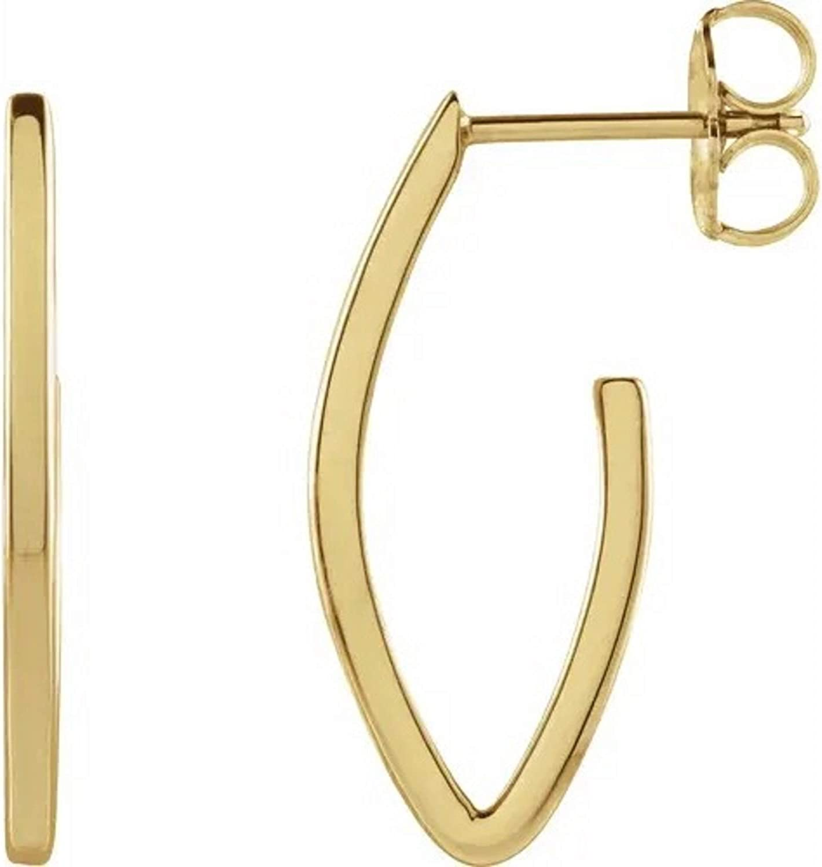 14K Yellow Gold 20x8 mm Teardrop Hoop Earrings