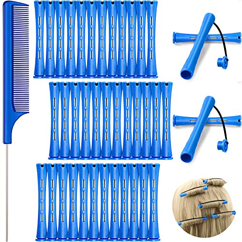 36 Pieces Cold Wave Rod, Hair Perm Rods Hair Rollers Perming Rods Curlers with Steel Rat Tail Comb for Hairdressing Styling (Blue,0.35 Inch)