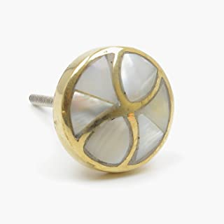 Bow Inlay Mother-of-Pearl with Brass Mixed Media Knob, Pull, Handle, for Cupboards, Doors, Cabinets, Drawers, Furniture & Kitchens (Includes Hardware) 3.67 cm Diameter 4 cm Rod Length