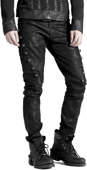 Punk Rave Dieselpunk - Pantalones vaqueros militares para hombre, color negro