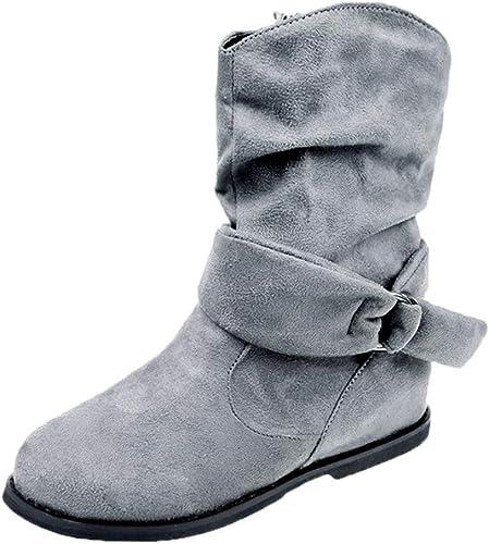 ZHRUI Stiefel Planas de Gran tamaño de Estilo Vintage para damen Calzado Suave Conjunto de pies Botines Stiefel Medias (Farbe   grau, tamaño   6.5 UK)