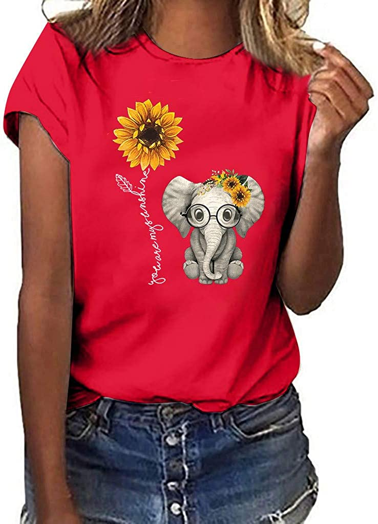 naioewe Womens Short Sleeve Tops Sunflower Print Shirts for Women Elephant Graphic Tees Casual O-Neck T Shirt Blouse Top