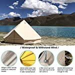 TentHome 4-Season Waterproof Cotton Bell Tent With Stove Hole on Roof Glamping Tent for Camping Travel Christmas Party 7