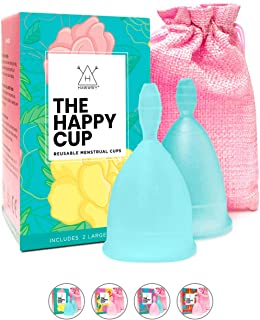 Happy Cup Menstrual Cups Hawwwy Tampon & Pad Alternative Large Heavy Flow Good-Grip Pull Design Eco Friendly Reusable FBA ...