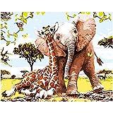 Dipingi con i Numeri per Bambini, Kit di Pittura acrilica Fai-da-Te per Adulti Principianti,Elefante e giraffa Tela Stampa della Parete di Arte della Decorazione della casa - 40x50cm - Senza Cornice