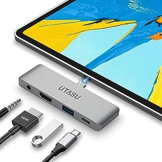 UTASU USB Type-C モバイル Pro ハブ 2018 iPad Pro 4in1 タイプC ハブ ドッキングステーション 変換アダプタ USB 3.0 PD充電 3.5mm ヘッドホンジャック4K HDMI Nintendo Switch(任天堂スイッチ)サポートMicrosoft Surface Go/Surface Book 2/ChromeBook/MacBook/MacBook Pro /等対応