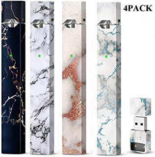 4 Pack Tile Pattern Skin Wrap Decal Case for Juul and Charger, Friction Feeling Scratch-proof Sleeve Shield Cover Case Cap Decal, Accessories Fit for JUUL (No Device Included, Contain Charge Cover)