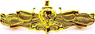 Quality Handcrafts - US Navy Surface Warfare Officer Skull Badge USN SWO Insignia Naval Gold Pin - Accessories for Clothes Decoration