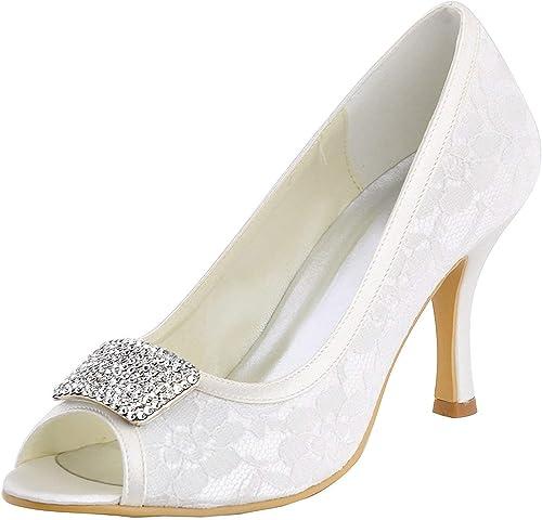Qiusa Sandalias de Novia para mujer de tacón Alto para mujer zapatos de Fiesta de Noche (Color   blanco-7.5cm Heel, tamaño   9 UK)