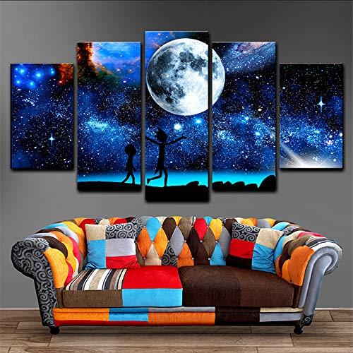 Mddjj Poster Leinwand Gemälde Wohnkultur 5 Stücke Rick Und Morty Bilder Gedruckt Sternenhimmel Mond Poster Für Wohnzimmer Wandkunst Rahmen Wohnzimmer Dekoration