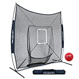 PowerNet DLX 7x7 Baseball Softball Hitting Net + Weighted Heavy Ball + Strike Zone Bundle (Navy) | Training Set | Practice Equipment Batting Soft Toss Pitching | Team Color | Portable Backstop