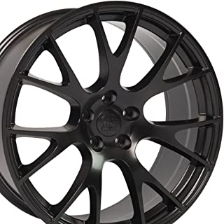 OE Wheels 20 Inch Fits Dodge Challenger Charger SRT8 Magnum Chrysler 300 SRT8 Hellcat Style DG15 20X9 Rims Satin Black SET