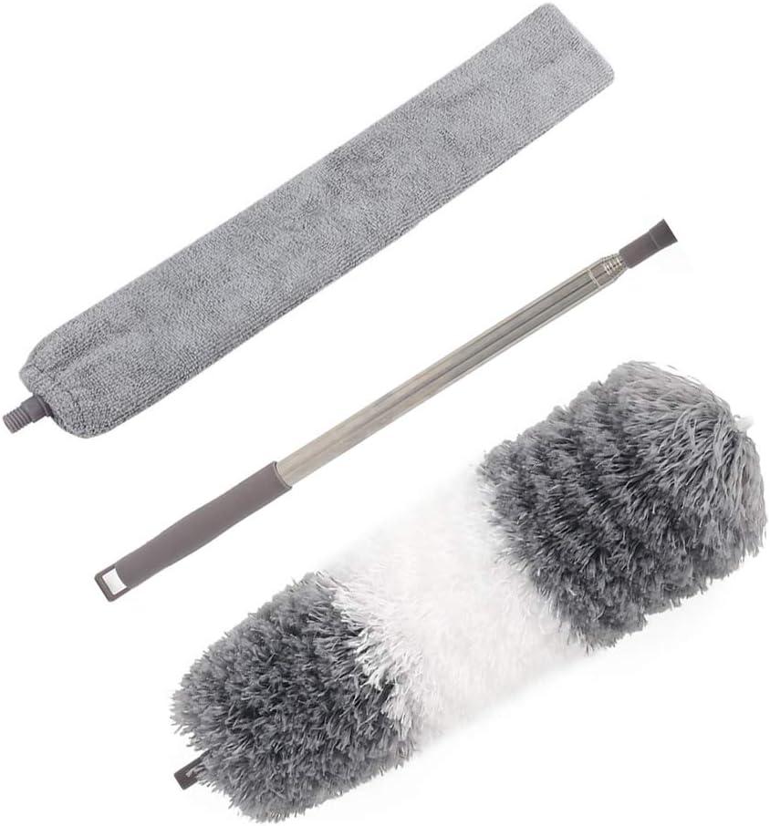 Kit de polvo de alto alcance, incluye plumero de microfibra flexible, cepillo de limpieza desmontable y barra de extensión de acero inoxidable de 30 a 100 pulgadas, para ventilador de techo, persianas