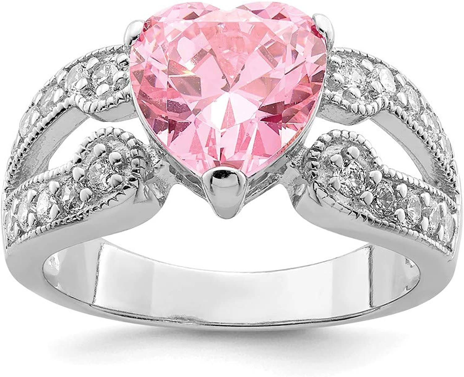 Beautiful Sterling silver 925 sterling Sterling Silver Rhodium plated 10mm Pink and Clear CZ Heart Ring