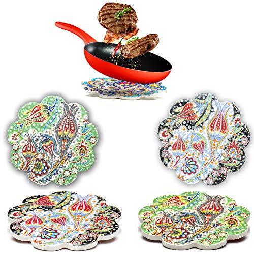 Dekorative Keramik Untersetzer 2er Set – für Töpfe, Pfannen, Vasen Karaffen Kerzen – Großes 18cm orientalisches Mandala Untersetzer Tischsets – Marokkanische Untersetzer Esstisch – Topfuntersetzer Set