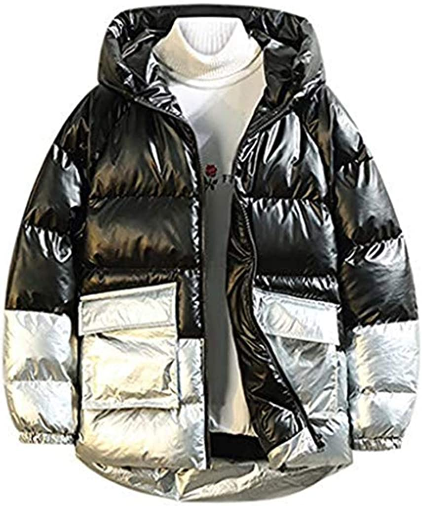 Stoota Men's Quilted Bomber Jacket, Warm Midweight Casual Splicing Contrast Hooded Padded Outdoor Puffer Coat M-5XL