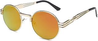 ACAMPTAR - Gafas de sol estilo gótico steampunk para hombre y mujer, de metal, con efecto espejo UV400 (dorado + rojo)