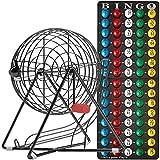 "MR CHIPS 11 Inch Tall Professional Bingo Set with Steel Bingo Cage, Everlasting 7/8"" Bingo Balls, Master Board for Bingo Balls - Mysterious Black"