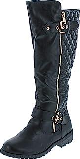 حذاء برقبة طويلة حتى الركبة مسطح للسيدات من Forever Mango-21 أسود 6.5