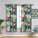 Pcglvie Cortinas opacas para decoración de dormitorio, de 160 cm de largo, diseño de hibisco, plumería, crepé, flores de jengibre, color rosa, rojo, verde y verde oscuro, 42 x 63 pulgadas