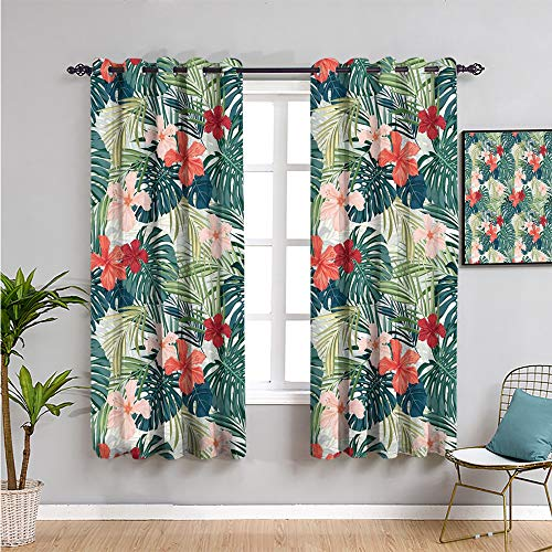 leaf Room Darkened Heat Insulation Curtain, Curtains 72 inch length summer beach holiday themed hibiscus plumeria crepe ginger flowers Bathroom curtain pink red green and dark green W72 x L72 Inch