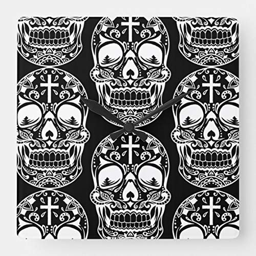Jard-T Sugar Skull Black.Png - Reloj de pared cuadrado para decoración de Halloween