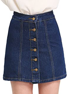 Women's Button Front Denim A-Line Short Skirt